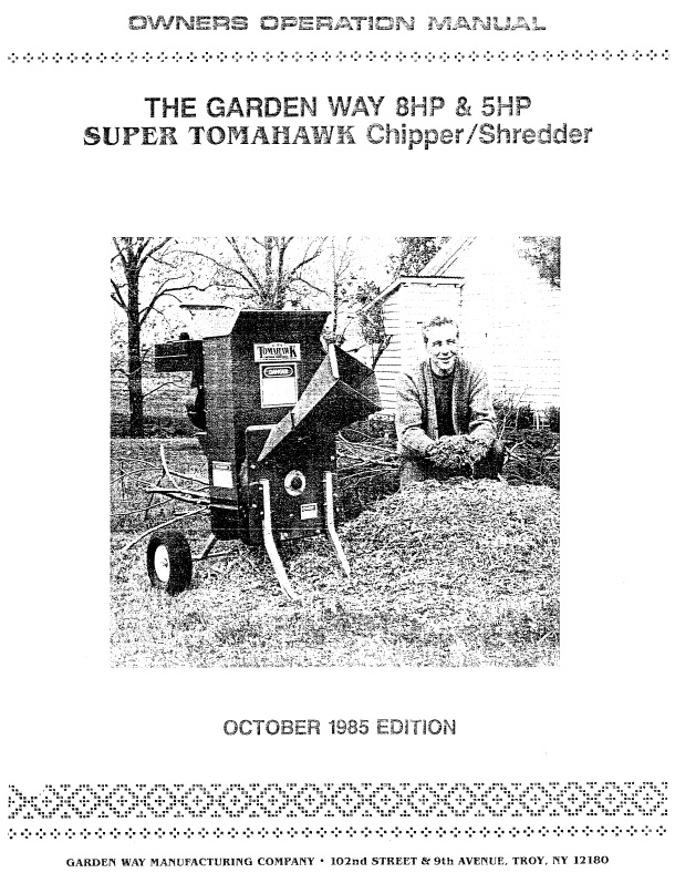 Chippershredder manuals 1985 garden way 8hp 5hp super tomahawk chipper shredder owners manual 27 pages publicscrutiny Gallery