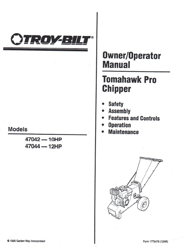 chipper shredder manuals rh brentchalmers com Troy-Bilt Tomahawk Chipper Manual troy bilt tomahawk pro chipper 12 hp manual