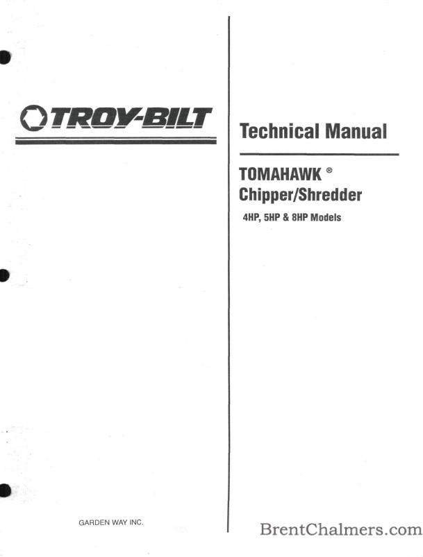 1989 Troy Bilt Technical Manual 4hp 5hp 8hp Models Tomahawk Chipper Shredder 12 Pages