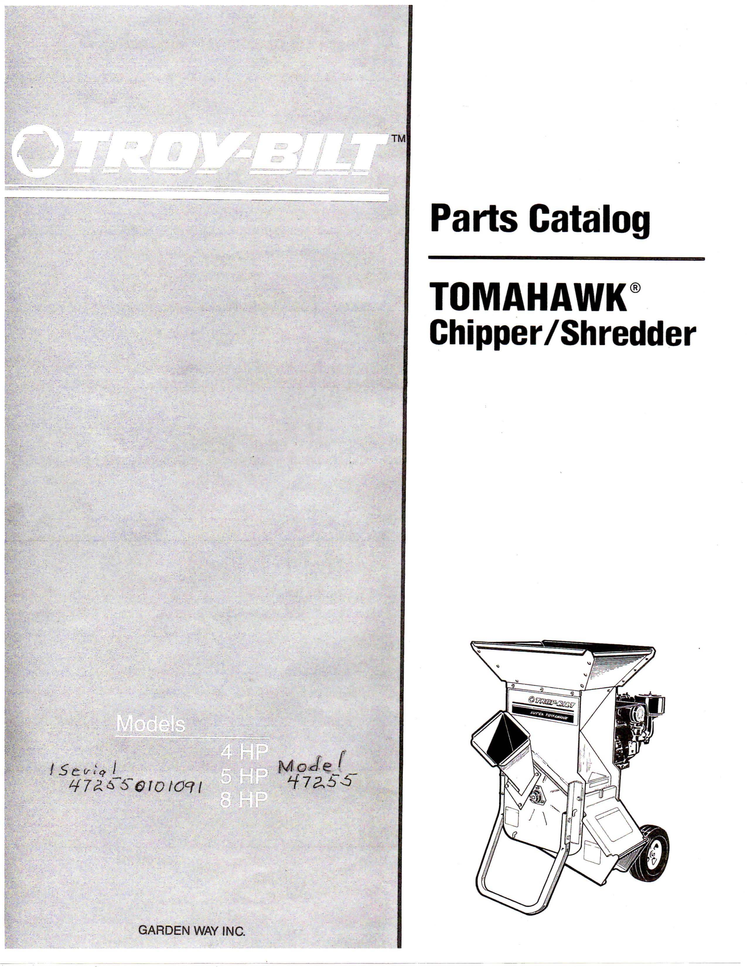 1992 Troy Bilt 4hp 5hp 8hp Models Parts Catalog Tomahawk Chipper Shredder 10 Page