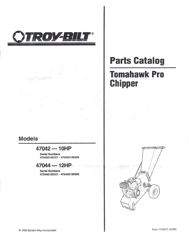1995 Troy Bilt Parts Catalog 47042 47044 10hp 12hp Tomahawk Pro Chipper 5 Pages
