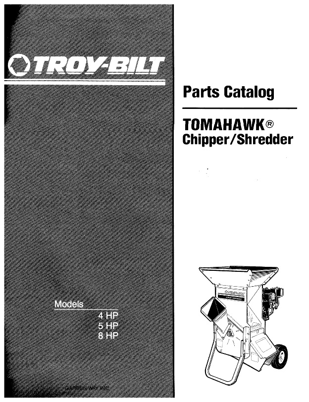 1990 Troy Bilt Parts Catalog 15012 15018 Tomahawk Chipper Shredder 13 Pages